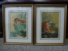 Vintage Chinese watercolour Tiger painting PAIR Red Chop signed Chinese