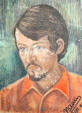 1971 Pastel drawing man portrait signed