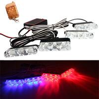 4X Car LED Red & Blue Signal Strobe Flash Light Warning Lamp + Remote Control