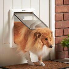 Milo & Misty Pet Flap Large 2 Way Clear Lockable Dog & Cat Door & White Surround