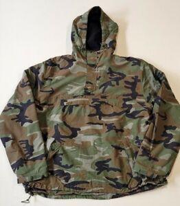 Surplus Raw Vintage Military Anorak Pullover Woodland Camo Mens Large Fleece