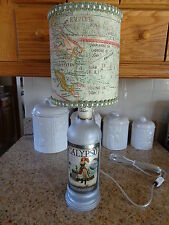 """Folk Art/By Artist Table/Desk Lamp (Silver Frosted """"Calypso"""" Bottle/Map Shade)"""