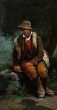 Attribué Giuseppe SIGNORINI peintre italien tableau portrait paysan berger forêt