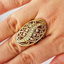 Hot Trendy Womens yellow Gold Filled Clear CZ vintage Cocktail Ring Size 6