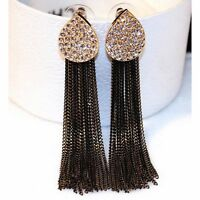 Black Gold Chain Tassel Crystal Gold Statement Stud Dangle Earrings UK