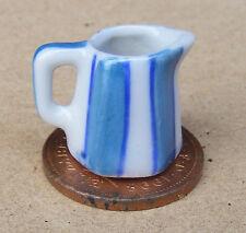 1:12 Scale Blue & White Striped Ceramic Jug 1.6cm Tumdee Dolls House B105