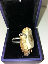 anillo roseta de corzo en plata