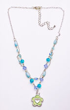 SILVER METAL AND MULTI TURQUOISE BEAD GREEN FLORAL HEART CHARM NECKLACE(ZX28)