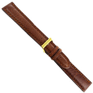 20mm Morellato Brown Genuine Leather Heavily Padded Slant Stitched Mens Band XXL