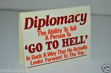 """WOW Vintage 1985 Political Satire Diplomacy Go To Hell 2 Sided 5.5"""" Sign Clinton"""