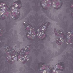 Arthouse Midsummer Plum Butterfly Glitter Wallpaper - A4 Sample Only