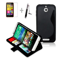 BLACK Wallet 4in1 Accessory Bundle Kit Phone Case Cover For HTC Desire 510