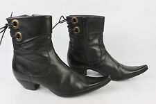 Boots Lace MURATTI Black Leather T 37 VERY GOOD CONDITION