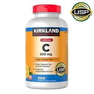 Kirkland Signature Chewable Tangy Orange Taste Vitamin C 500 mg. 500 Tablets