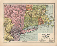 1934 MAP ~ NEW YORK & ITS VICINITY LONG ISLAND MANHATTEN BOSTON JERSEY