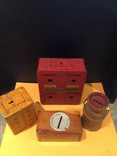 4 Vintage still coin banks: Uncle Sam, Cuss box, Spokane Wash milk can & Safe