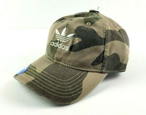 Adidas Men's Originals Relaxed Strapback AOP Olive Cargo White Camo Fit Hat