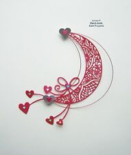 VALENTINES DAY MOON, HEARTS & WIRE DESIGN CARD CRAFT TOPPER  VAL 04/18 RED
