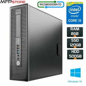COMPUTER PC FISSO HP 800 G1 SFF Intel Core I5-4th. SSD 120GB HDD 500GB Win10