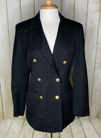 Brooks Brothers Black Wool Double Breasted Blazer Size 6 Womens