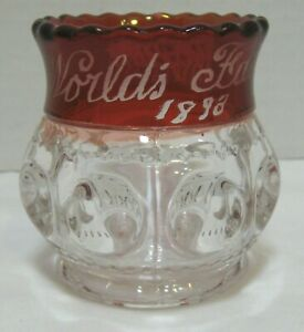 Ruby Flashed Souvenir Kings Crown Toothpick Holder World's Fair 1893