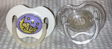 Vintage Avent Silicone Pacifiers-Glow In Dark Doggy&Moon/Clear-Size 0-6 Months