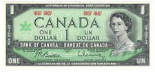 Canada Centennial $1 Dollar 1967 P-84a BC-45a Date Only UNC Banknote