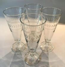 4 Etched Glass Pilsners -Stripes And Leaves Design