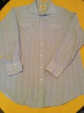Mens Size 18-36 Ely Cattleman shirt Tall Man blue L/S striped western rodeo