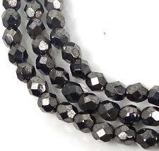 50 Firepolish Czech Glass Round Faceted Round Beads - Hematite 4mm
