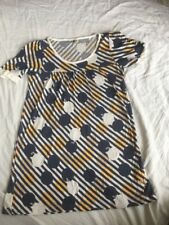 ROXY Skate Women's Long Line T Shirt Top Navy Yellow VGC BARGAIN LARGE L