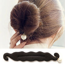 Girl Sponge Ponytail Tie Back Hair Stick Band Bun Pearl Doughnut Maker Black ·