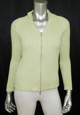 TALBOTS PETITE Spring Green Cable Knit Zipper Front Cardigan Sweater sz PS