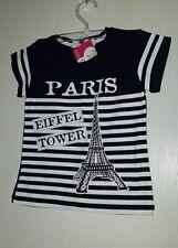 PARIS SO GIRLY T-SHIRT STRETCH FILLE 2 ANS (92 CM) BICOLORE MARINE & BLANC RAYE