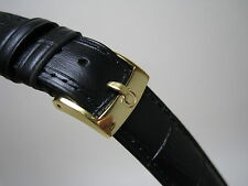 18 MM BLACK LEATHER BAND YELLOW GOLD SMALL LOGO BUCKLE FOR OMEGA WATCH
