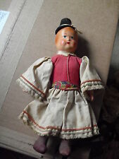 """OLD Hungary Made Jointed Cloth Ethnic Boy Character Doll 9"""" Tall"""
