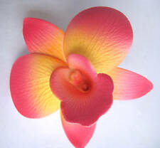 Hawaii Bridal Wedding Party Orchid  Flower Hair Clip ~ PINK & YELLOW (QTY 2)