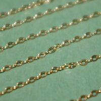 Sold by the foot 14kt GOLD FILLED Fine 1.5x2mm Flat CABLE Bulk Continuous CHAIN