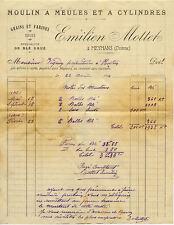 MEYMANS facture 1914 émilien MOTTET moulin à meules et à cylindres farines