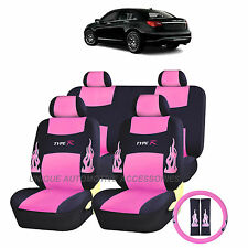 PINK FLAMES COMPLETE SEAT COVERS STEERING 13PC SET for CHRYSLER 200 300