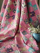 "Pretty in Pink! VINTAGE 30-40s One Patch QUILT 80"" x 67"""