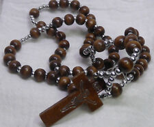 Wooden Rosary with 5 Decades - Beads are Wood and Plastic