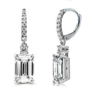 18k White Gold Emerald Cut Cz Lever-back Earrings Made With Swarovski Elements