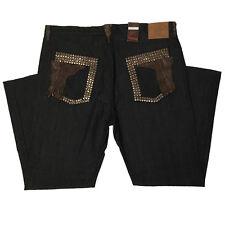 G-Gator Black Exotic Denim Pants Alligator Trim & Metal Spikes, Size 46
