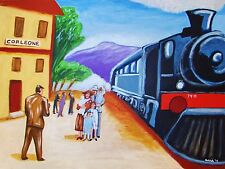 GODFATHER MOVIE PRINT poster corleone train station steam locomotive deniro art