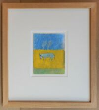 Yellow Field. Expressionist mixed media by listed artist Valérie Teneze 1986