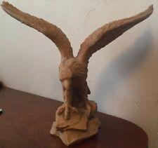 Beautiful Large Resin Carved Tan Eagle Statue Figurine