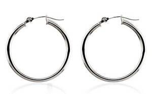 14K White Gold Hoop Earrings 25 x 2mm Round Plain Minimalist Hoops