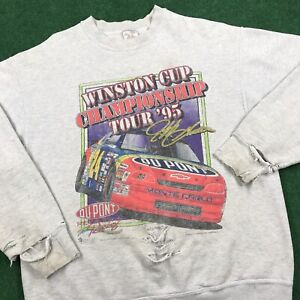 VTG 90S THRASHED Jeff Gordon Winston Cup Tour Sweatshirt Nascar Racing Mens L