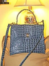 STUNNING LORD & TAYLOR PANTENT LEATHER CROC EMBOSSED PERIWINKLE PURSE